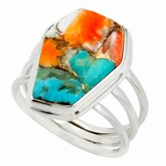 13.22cts spiny oyster arizona turquoise 925 silver coffin ring size 8.5 r42161