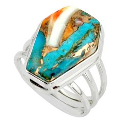 13.27cts spiny oyster arizona turquoise 925 silver coffin ring size 7.5 r42168