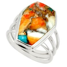 13.95cts spiny oyster arizona turquoise 925 silver coffin ring size 7.5 r42171
