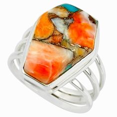 13.53cts spiny oyster arizona turquoise 925 silver coffin ring size 7.5 r42173