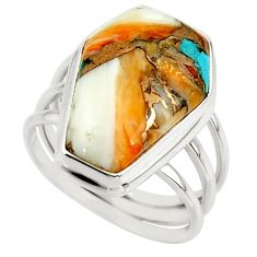 13.49cts spiny oyster arizona turquoise 925 silver coffin ring size 7.5 r42176