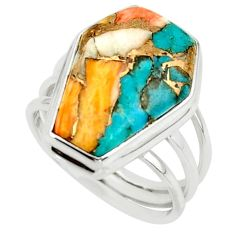 13.18cts spiny oyster arizona turquoise 925 silver coffin ring size 7 r42164