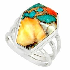 999.99cts spiny oyster arizona turquoise 925 silver coffin ring size 7 r42169