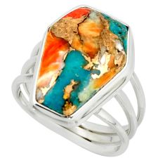 13.07cts spiny oyster arizona turquoise 925 silver coffin ring size 7 r42170