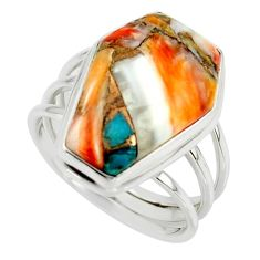 13.60cts spiny oyster arizona turquoise 925 silver coffin ring size 8 r42163