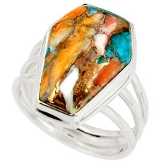13.95cts spiny oyster arizona turquoise 925 silver coffin ring size 8 r42172