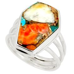 13.51cts spiny oyster arizona turquoise 925 silver coffin ring size 8 r42175