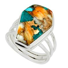 14.10cts spiny oyster arizona turquoise 925 silver coffin ring size 8 r42177