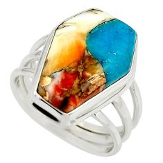 13.16cts spiny oyster arizona turquoise 925 silver coffin ring size 8 r42180