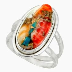 7.50cts spiny oyster arizona turquoise 925 silver ring size 6.5 r42221