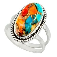 7.21cts spiny oyster arizona turquoise 925 silver ring size 7 r42222