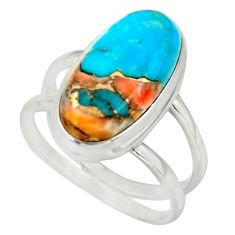7.25cts spiny oyster arizona turquoise 925 silver ring size 8 r42224