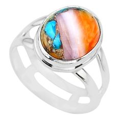 5.11cts spiny oyster arizona turquoise 925 silver solitaire ring jewelry t12932