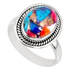 6.32cts spiny oyster arizona turquoise 925 silver solitaire ring size 9.5 r62669