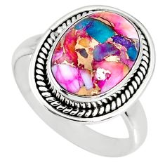 6.02cts spiny oyster arizona turquoise 925 silver solitaire ring size 8.5 r62672