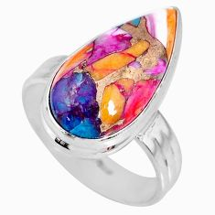 8.45cts spiny oyster arizona turquoise 925 silver solitaire ring size 8.5 r62683