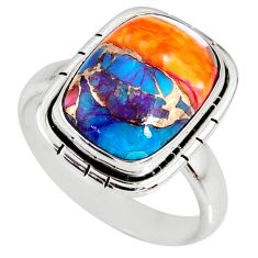 6.29cts spiny oyster arizona turquoise 925 silver solitaire ring size 8.5 r62751