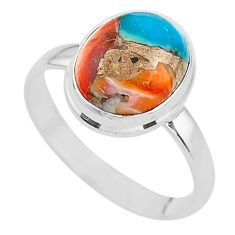 5.30cts spiny oyster arizona turquoise 925 silver solitaire ring size 10 t12902