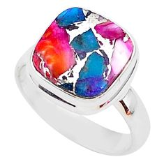 5.11cts spiny oyster arizona turquoise 925 silver solitaire ring size 6 r93350