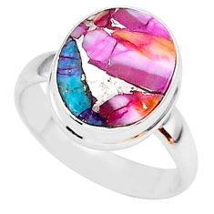 5.11cts spiny oyster arizona turquoise 925 silver solitaire ring size 6 r93357