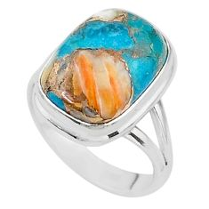 6.38cts spiny oyster arizona turquoise 925 silver solitaire ring size 6 t12924