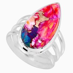 8.54cts spiny oyster arizona turquoise 925 silver solitaire ring size 7 r62646