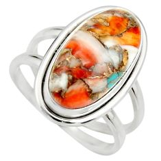 7.83cts spiny oyster arizona turquoise 925 silver solitaire ring size 8 r27065