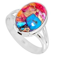 6.26cts spiny oyster arizona turquoise 925 silver solitaire ring size 8 r62702