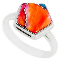 5.71cts spiny oyster arizona turquoise 925 silver solitaire ring size 8 r80145