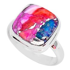 6.36cts spiny oyster arizona turquoise 925 silver solitaire ring size 8 r93321