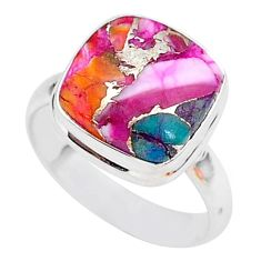 5.96cts spiny oyster arizona turquoise 925 silver solitaire ring size 8 r93327