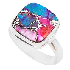 6.27cts spiny oyster arizona turquoise 925 silver solitaire ring size 8 r93384