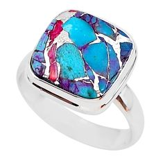 6.98cts spiny oyster arizona turquoise 925 silver solitaire ring size 8 r93393