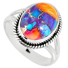 6.32cts spiny oyster arizona turquoise 925 silver solitaire ring size 9 r62734