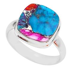 6.26cts spiny oyster arizona turquoise 925 silver solitaire ring size 9 r93325