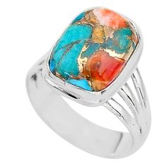 6.60cts spiny oyster arizona turquoise 925 silver solitaire ring size 7.5 t12915