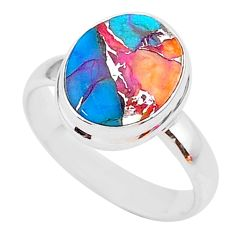 5.11cts spiny oyster arizona turquoise 925 sterling silver ring size 8 r93602