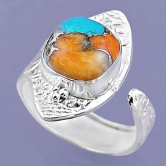 5.32cts spiny oyster arizona turquoise silver adjustable ring size 7.5 r54731