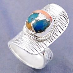 4.92cts spiny oyster arizona turquoise silver adjustable ring size 4.5 r54773