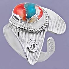 5.53cts spiny oyster arizona turquoise silver adjustable ring size 8.5 r54885