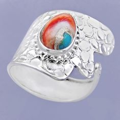 4.40cts spiny oyster arizona turquoise silver adjustable ring size 8.5 r54916