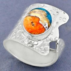 5.28cts spiny oyster arizona turquoise silver adjustable ring size 8.5 r63401