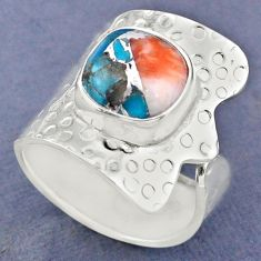 5.75cts spiny oyster arizona turquoise silver adjustable ring size 8.5 r63402