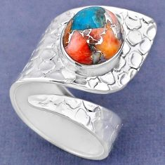 5.07cts spiny oyster arizona turquoise silver adjustable ring size 7.5 r63427