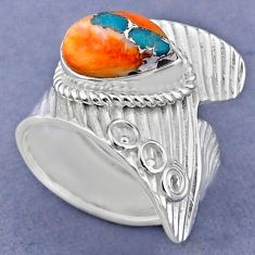 4.02cts spiny oyster arizona turquoise silver adjustable ring size 8.5 r63445
