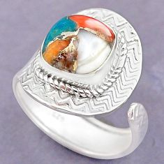 5.15cts spiny oyster arizona turquoise silver adjustable ring size 8.5 r90677