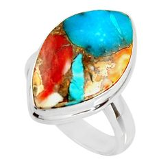 14.65cts spiny oyster arizona turquoise silver solitaire ring size 6.5 r34838