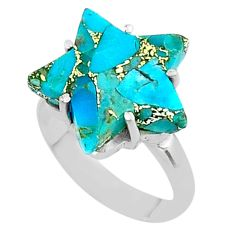 6.68cts star blue copper turquoise 925 sterling silver ring size 7 t50550