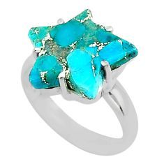6.70cts star blue copper turquoise 925 sterling silver ring size 7.5 t50542