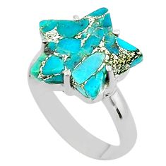 7.04cts star blue copper turquoise 925 sterling silver ring size 8.5 t50555